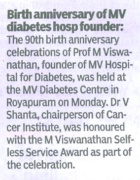 M.V.Hospital for Diabetes News